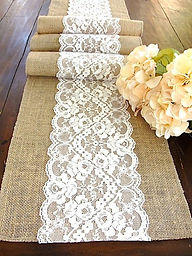 burlap ad lace table runer