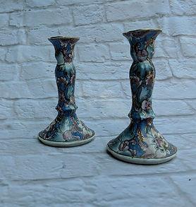 vintage floral candlesticks