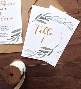 leaf watercolor table numbers