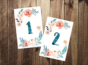 floral water color table numbers