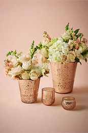 rose gol vases and votives