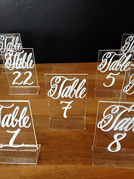 clear script acrylic table numbers