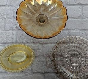 vintage platters, plates, stands