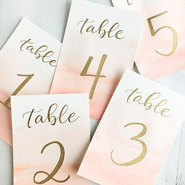 blush/gold water color table numbers