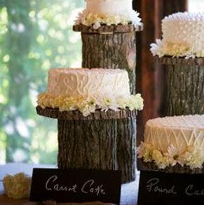 wood pedestal cake stand