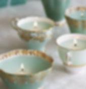 vintage colored teacup candels