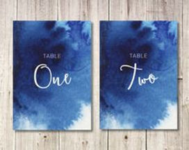navy water color table numbers