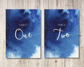 navy watercolor table numbers