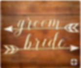 bride and groom wood chair sign