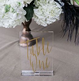 gold script scrylic table numbers