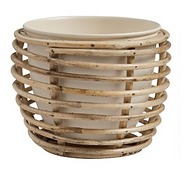Ivory Metal Planter with Rattan Cane Sta