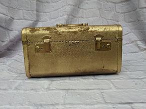 vintage gold suitcase