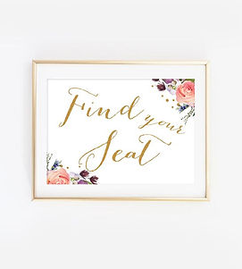 find your seat watercolor sign