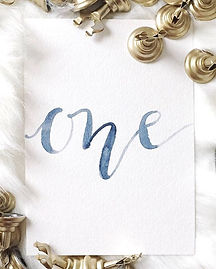 dusty blue script water color table numbers