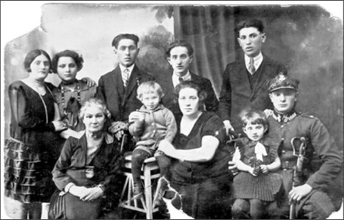 "Left to right: Sarah Malmed, my aunt; Chana Blum, my mother; ""Boubé"", my grandmother; Meyer Malmed, Salomon's father, my uncle; Jean Gerbaëz, son of Ida, my cousin; Abraham Gerbaëz, Ida's husband, my uncle; Ida Malmed, wife of Abraham Gerbaez, my aunt; Hélène Gerbaëz, daughter of Abraham and Ida, a cousin, and Srul Malmed, my father, 1928."