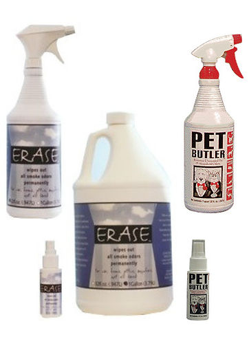 Burning Solutions Odor Eliminaton Products: ERASE and Pet Butler