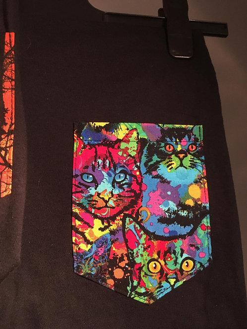 T-shirt à poche Psycho cats