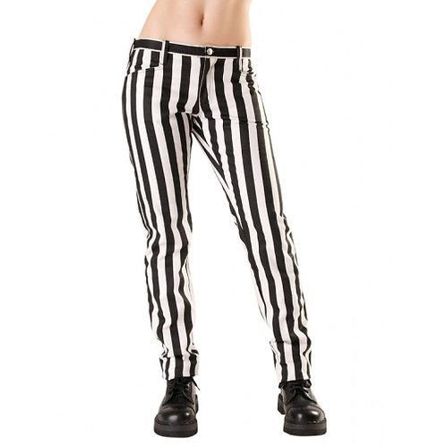 Pantalons Close lignés noir et blanc