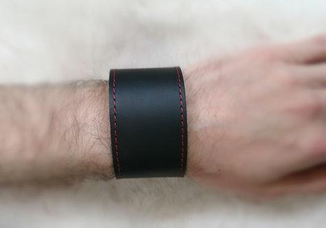 Bracelet bande large couture rouge