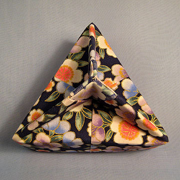 Triangle - Knob, Asian Floral Navy