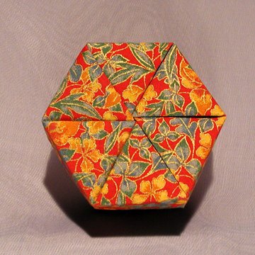 Hexagon - Plain, Gold Floral on Red