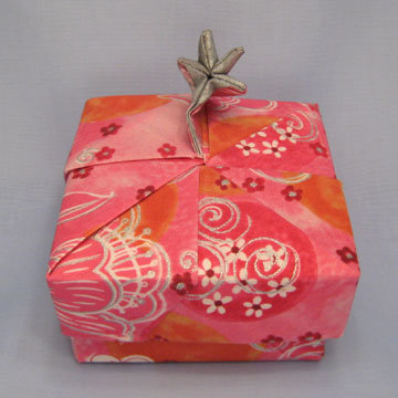 Square - Star, Silver Floral on Pink Orange