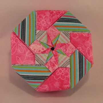 Octagon - Star Windmill, Fuchsia Floral and Stripes