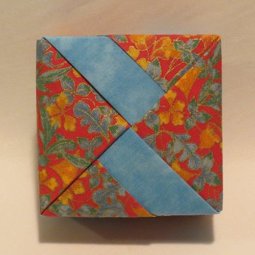 Square - Bands, Blue and Gold Floral on Red