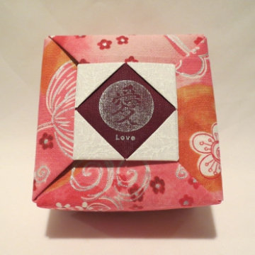 Square - Frame, Love Silver Floral on Pink Orange