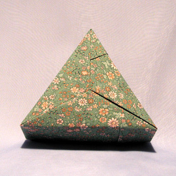 Triangle - Plain, Pink Floral on Green