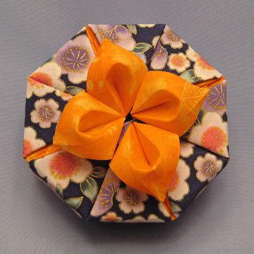 Octagon - Daylily, Daylily on Asian Floral Navy