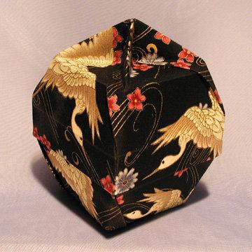 Lamp Bowl - Knob, Cranes on Asian Black