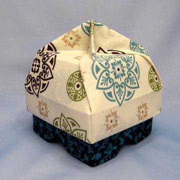 Lamp Bowl - Hut, Teal Rosettes