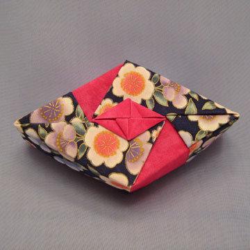 Rhombus - Diamond, Asian Floral Navy and Fuchsia