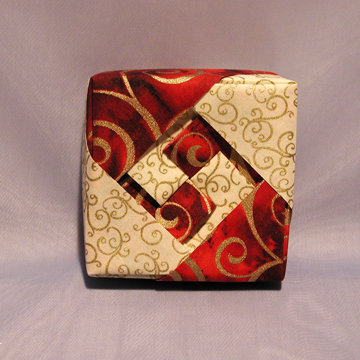 Square - Lozenge, Gold Swirls on Red and White