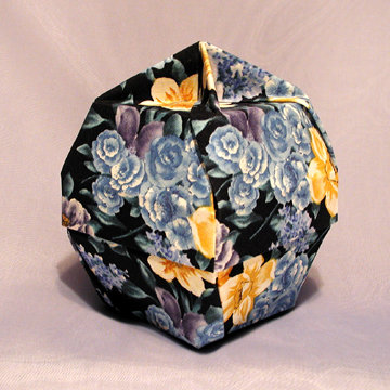 Lamp Bowl - Knob, Blue and Gold Flowers