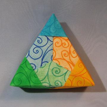 Triangle - Corners, Blue, Yellow, Green Swirls