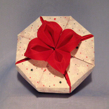 Octagon - Daylily, Red Daylily on White Stars