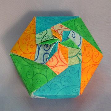 Hexagon - Dome Blossom, Blue, Yellow, Green Swirls