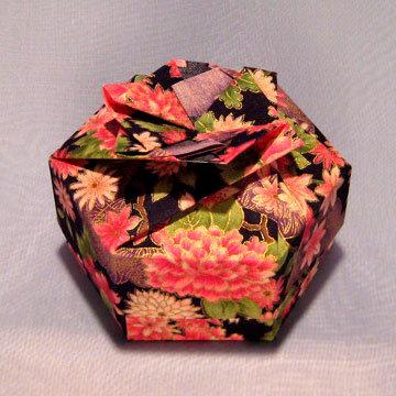 Hexagon - Bow, Asian Floral