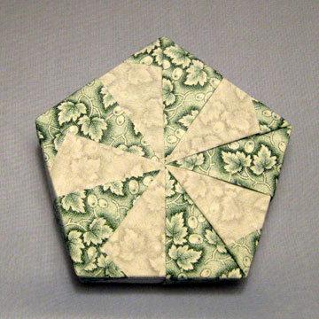 Pentagon - Pinwheel, Green Leaves