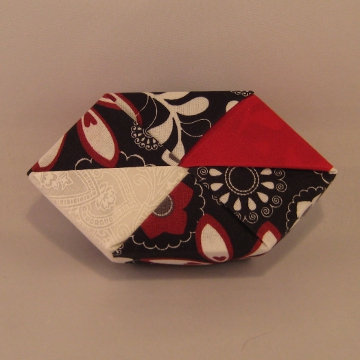 Polygon - Bow Tie, Red and White Floral on Black