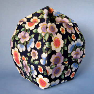 Lamp Bowl - Knob, Asian Floral Navy