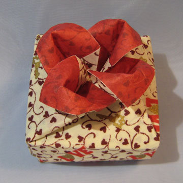 Square - Rose, Red Rose on Burgundy Hearts