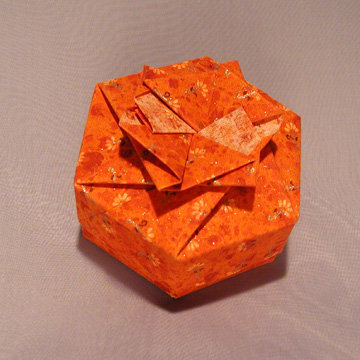 Hexagon - Bow, Orange Floral