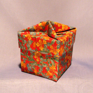 Cube - Knob, Gold Floral on Red