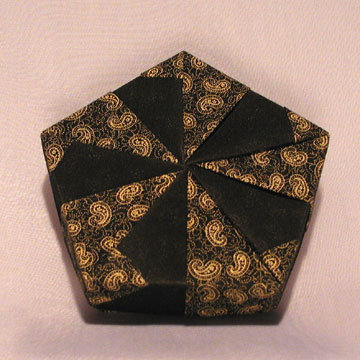 Pentagon - Pinwheel, Gold Paisleys on Black