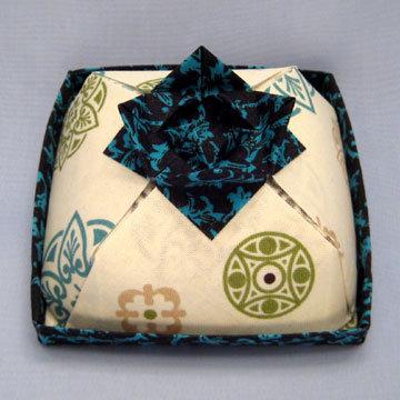 Square - Cake Box, Teal Rosettes