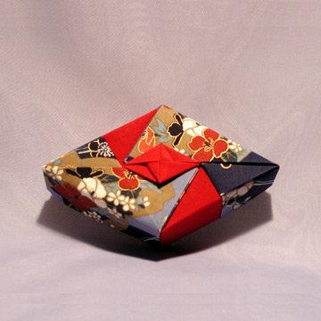 Rhombus - Diamond, Asian Blue and Red