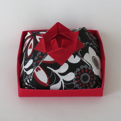 Square - Cake Box, Red and White Floral on Black